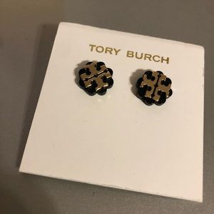 Tory Burch Black and gold flower logo earrings